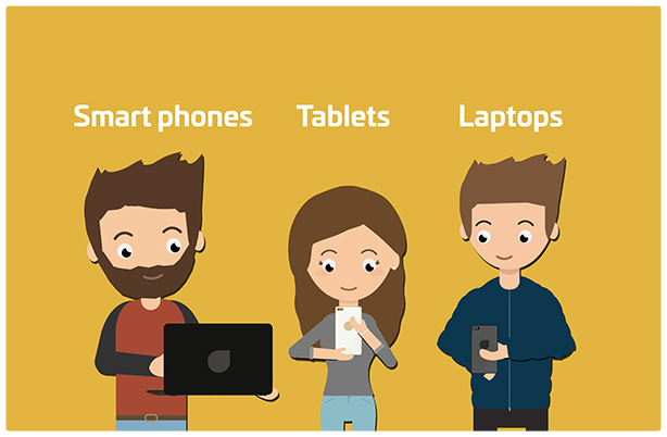 Smart phones, tablets and laptops
